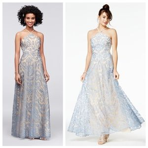 Speechless Blue Embroidered Halter Gown
